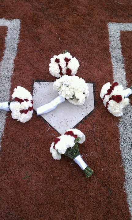 Baseball Bouquets at home plate...