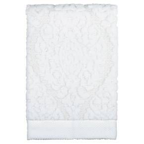 """• Made of 100% cotton <br>• Measures 16""""x27""""<br>• Machine washable<br><br>Bring a beautiful terry cloth hand towel into your guest washroom with the Ogee Hand Towel in White from Threshold. This white hand towel has a decorative design in raised relief."""