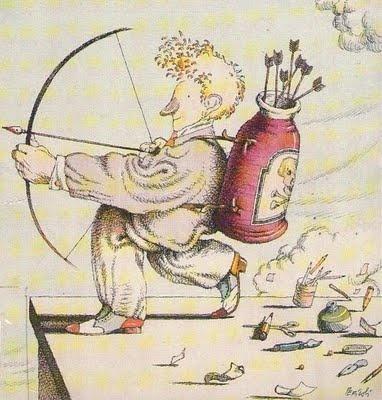 Disegno di Tullio Pericoli (1990)  Acquerello e china su carta