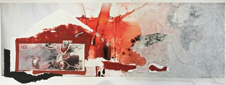 Elaine d'Esterre - Journey into Brachina Gorge, 2017, etching collage and digital print, 30x70 cm. Art blog at htttps://elainedesterreart.com/ and https://www.facebook.com/elainedesterreart/ and https://instagram.com/desterreart/