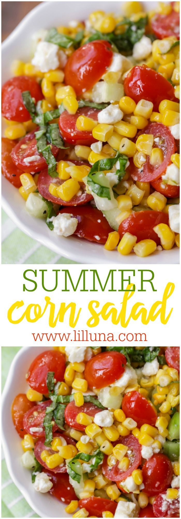 Summer Corn Salad Recipe- a light, flavorful salad filled with corn, tomatoes, feta, basil and cucumber. It's perfect for BBQs and will be a hit at any party!