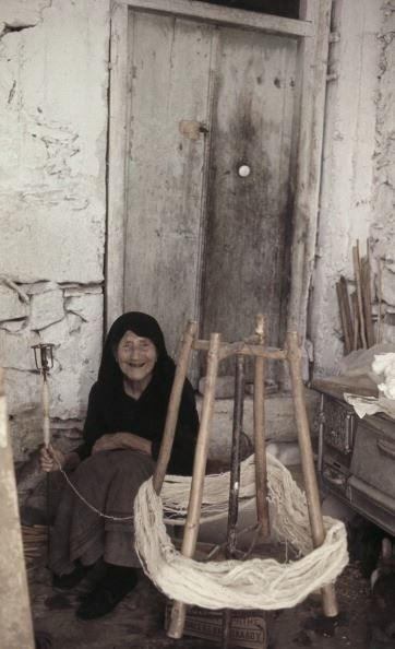 SPINNING WOOL...Crete...1972 (Photo by Manuel Litran/Paris Match via Getty Images)