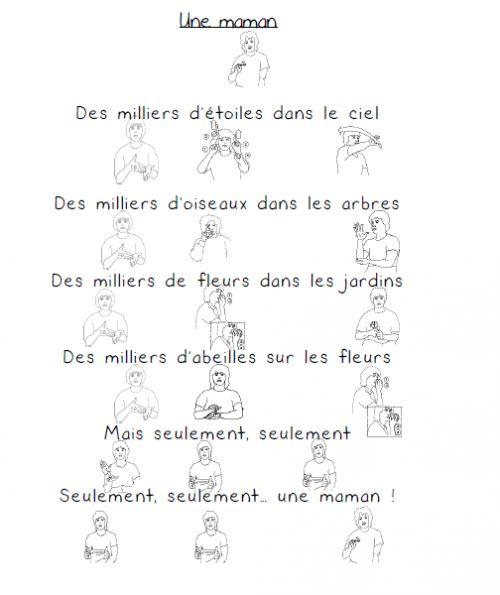 Poésie pour la fête des mamans en langue des signes
