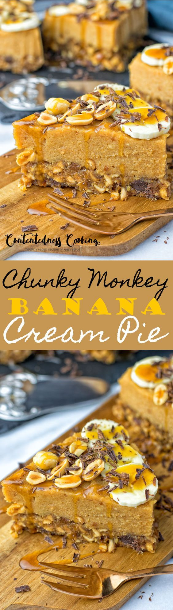 My #ChunkyMonkey #BananaCream #Pie is a #beautiful #vegan #dessert made from 6 ingredients. Full of flavor from #dates, #peanuts, #bananas, and #coconutnectar. #Glutenfree and #easy. #dessert #cake