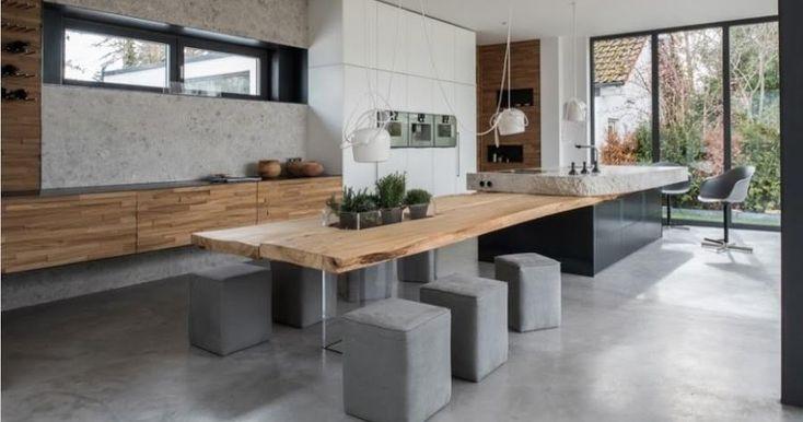 Piedra y madera en estado puro: componentes de una cocina de diseño