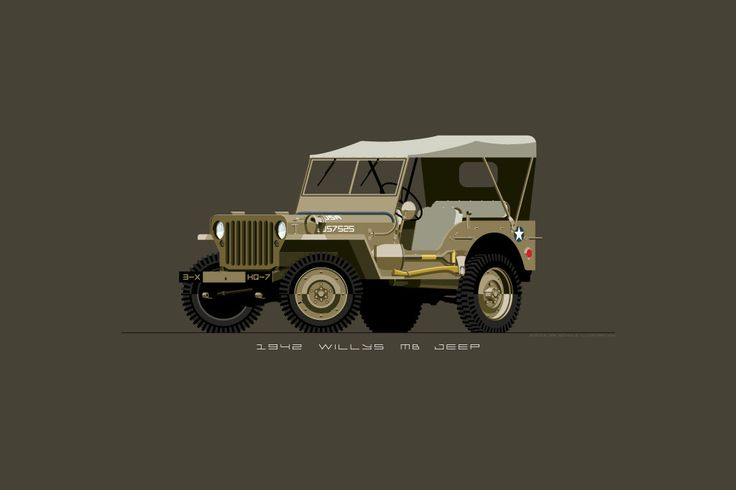 1942 Willys MB Army Jeep Print in Desert Tan