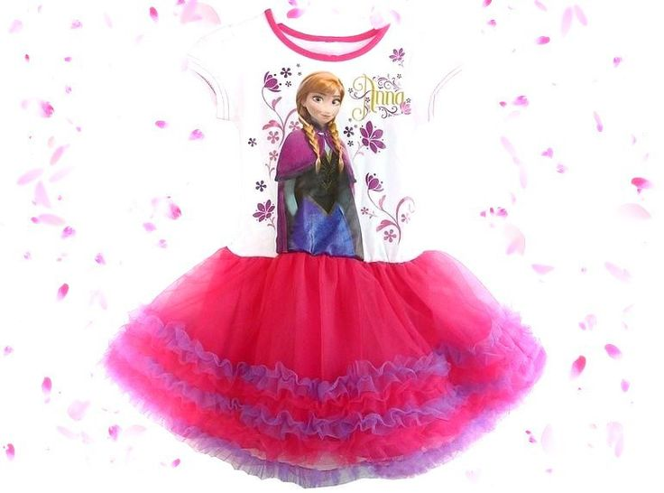 Pink & purple tulle dress decorated with Anna print & tulle skirt.