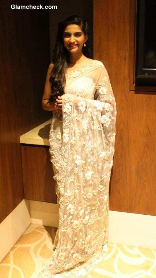 Sonam Kapoor Stunning in White Lace Sari