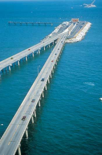 Chesapeake Bay Bridge - Tunnel, connects Virginia's Eastern Shore with the Virginia mainland at Virginia Beach near Norfolk.  Go to www.YourTravelVideos.com or just click on photo for home videos and much more on sites like this.