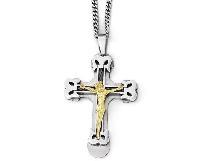 Chisel Stainless Steel Gold Ip W/ Brushed and Polished Cable Cross Necklace