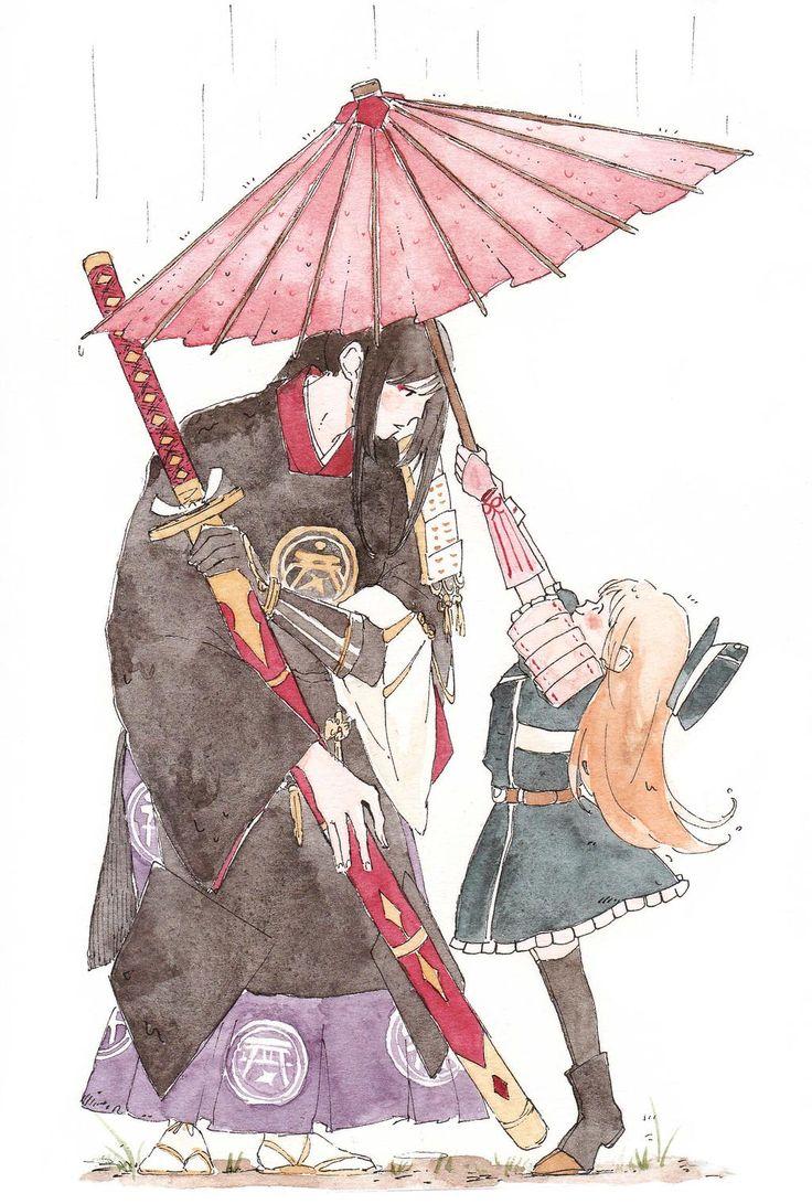 髪の毛乾かすの大変でしょ?って傘さしてくれる可愛い子と、おやおや、ありがとうございます。屈んでくれる可愛い人・・・