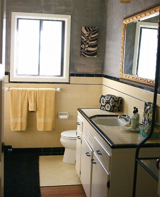 yellow tile bathroom