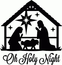 "Nativity Scene ""Oh Holy Night"" Black Vinyl Decal for Glass Block"