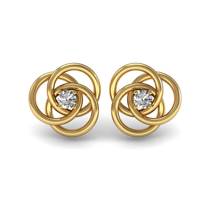 Sgl Certified Designer Solitaire Stud Earrings Women's Wedding Gift Jewelry Set in 18k Solid Yellow Gold