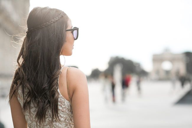 Paris :: Maxi lace dress & Casual braids :: Outfit ::  Dress :: Dress the Population Shoes :: Stuart Weitzman Bag :: Chloe Accessories :: Karen Walker sunglasses, Charlotte Tilbury 'Bond Girl' lip color, David Yurman ring, black choker Published: June 29, 2016