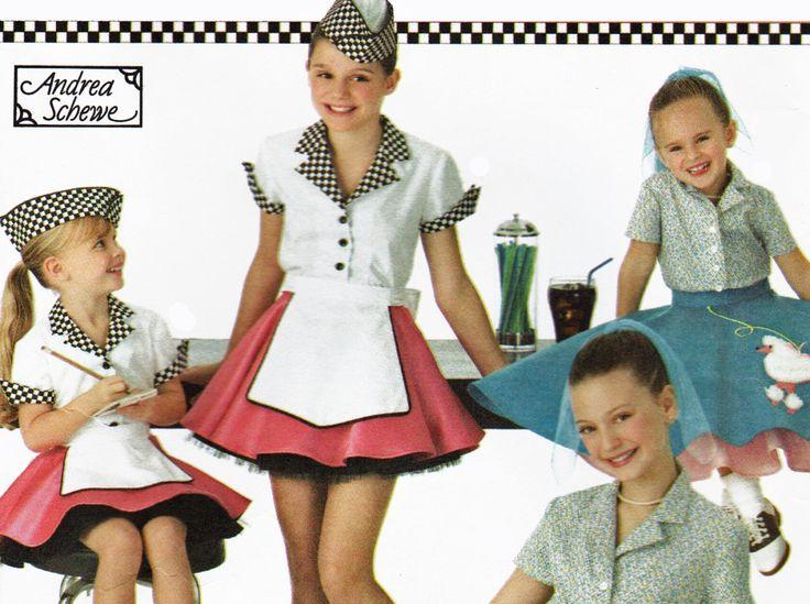 Toddler Girls Costume Pattern Poodle Skirt Or Soda Shop Car Hop Waitress Simplicity 3836 Sizes 3 4 5 6 UNCUT