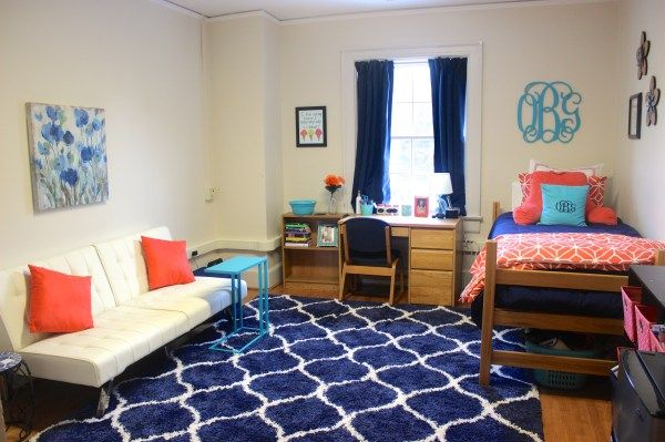 UNC Kenan Quad! 13x18 probably>>og post: Dorm room inspiration: navy, coral, & turquoise! See the whole dorm room tour by clicking the pin.