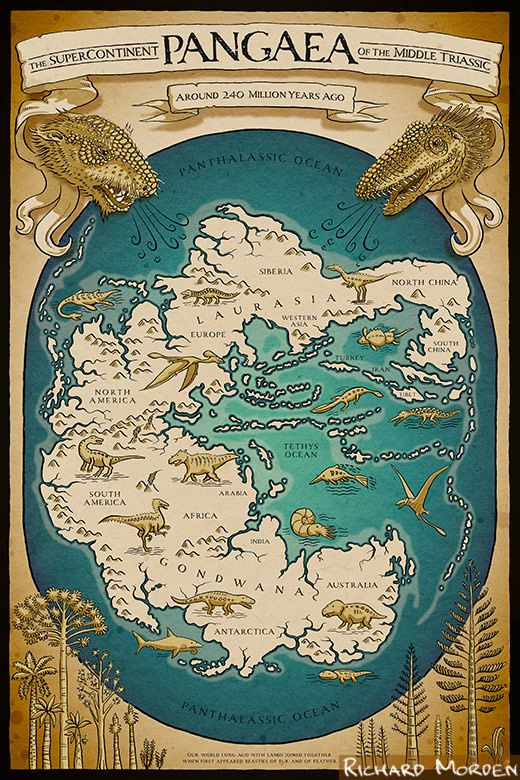 Pangaea map, by Richard Morden. The map of Pangaea, featuring the ancient continents of Gondwana and Laurasia, is available as poster art