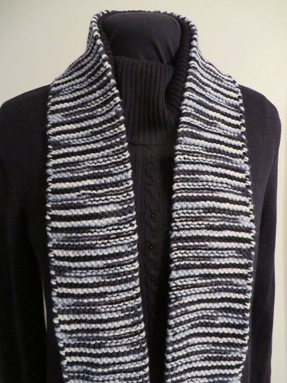 Narrow black and white variegated scarf.  The yarn has lots of body so it is a very tidy scarf.