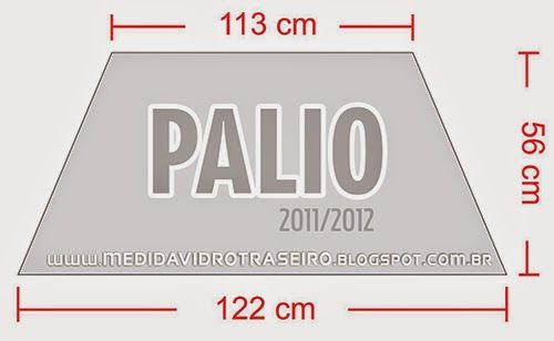 Medida Vidro Traseiro: PALIO 2011: Medida Vidro Traseiro (Adesivo Perfurado) - Parabrisa