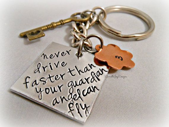 Great little gift for New Drivers... Hand Stamped Never Drive Faster Than Your by DanielleJoyDesigns, $30.00
