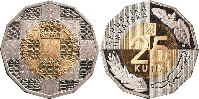 Croacia 25 Kuna 2016 - 25 Aniversario de Independencia