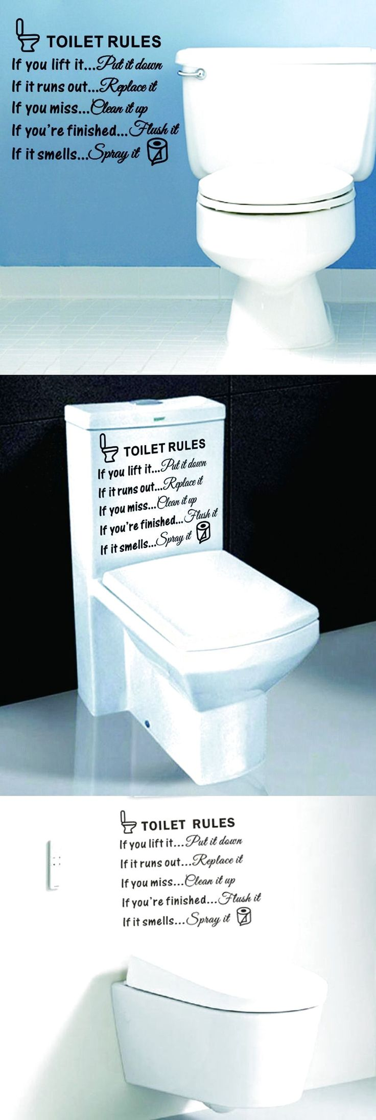 Toilet Rules Quote  Removable Wall Sticker PVC Art Decals Bathroom Home Decor US $3.39