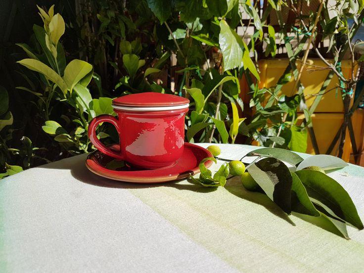 Ceramic infusion maker, red enamel. Ceramic cups. Handmade. Table accessories. Ketty Messina pottery di ceramichemessina su Etsy