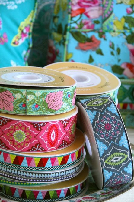 Amy Butler's new ribbon designs from Renaissance Ribbons!