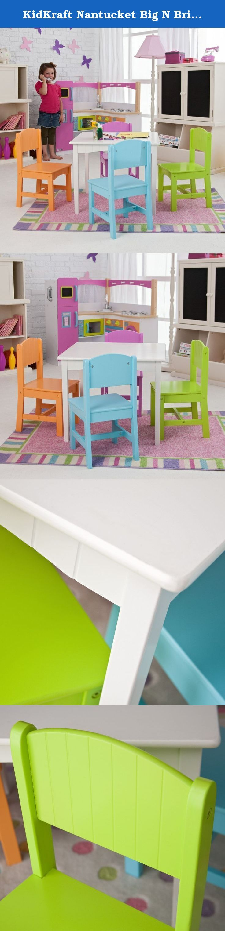 KidKraft Nantucket Big N Bright Table and Chair Set - 26124. Go bold or go home or go bold at home with the KidKraft Nantucket Big N Bright Table and Chair Set - 26124. Perfect for board games, arts and crafts, tea parties, and any other activity your playroom may host, this set boasts a classic white table with colorful chairs that practically shout ''play time!'' Each sturdy chair has a Nantucket-style plank back and a wide, comfortable seat. This set is perfectly sized for children 3 to…