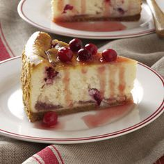 "Winning Cranberry Cheesecake Recipe -The holidays wouldn't be complete without cranberries and eggnog. I use them both in this flavorful cheesecake that's the perfect finale for a special dinner. Set it out at the start of the meal, not just to solicit ""oohs"" and ""aahs,"" but to remind folks to save room for dessert! —Nancy Zimmerman, Cape May Court House, New Jersey"