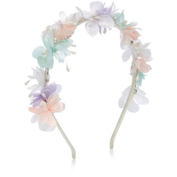 Monsoon Pastel Flower Diamante Alice Hair Band ($14) ❤ liked on Polyvore featuring accessories, hair accessories, flower headbands, flower headwrap, headband hair accessories, dressy headbands and fancy headbands