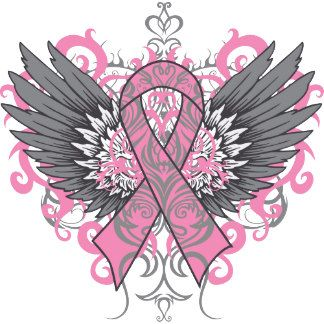 Pink ribbon wings design for breast cancer awareness shirts