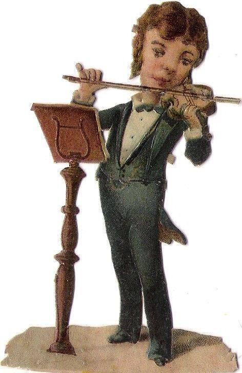 Oblaten Glanzbild scrap die cut chromo Musiker musicien musician Geige violin