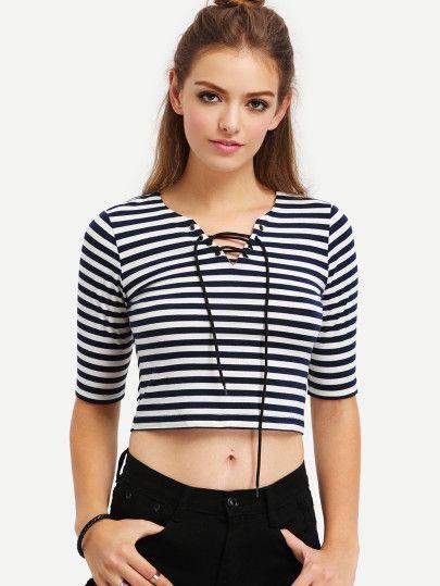 Camiseta de rayas con cordones -negro y blanco