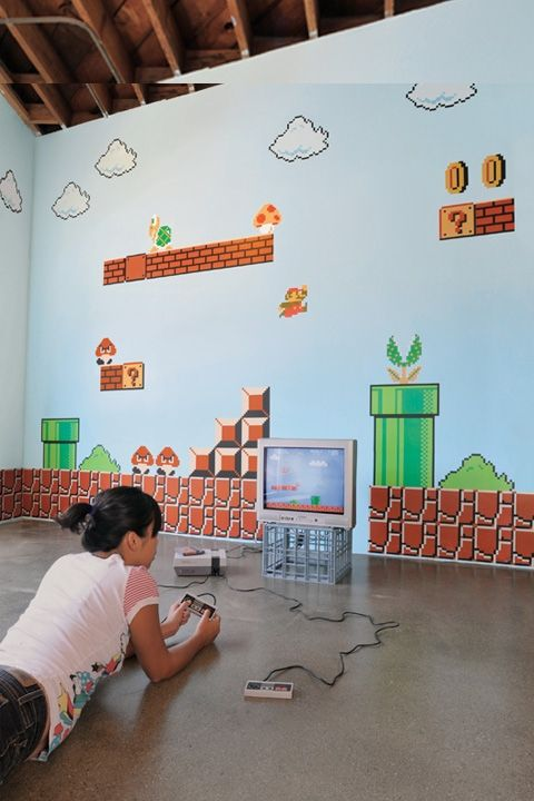 Super Mario Bros. ~ Re-Stik For the game room: Mario Wall, Kids Room, Wall Graphics, Wall Decals, Super Mario Bros, Wall Stickers, Super Mario Bros