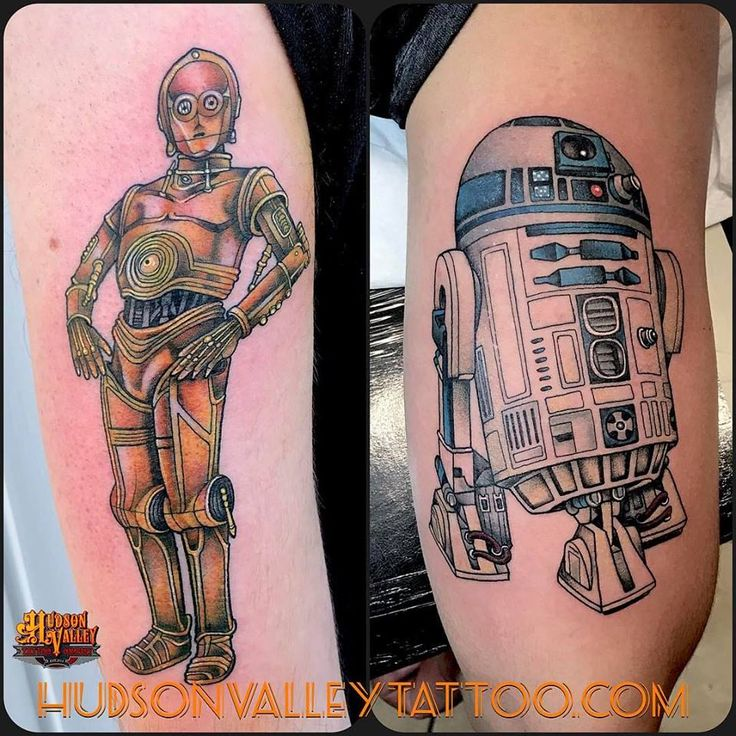 C3po and r2d2 star wars tattoos done by mike shish at