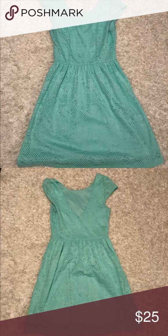 Aqua blue dress from Francesca's Only worn a couple of times! Has a low v in the back but I was still able to wear a normal bra without the strap showing. Francesca's Collections Dresses Mini