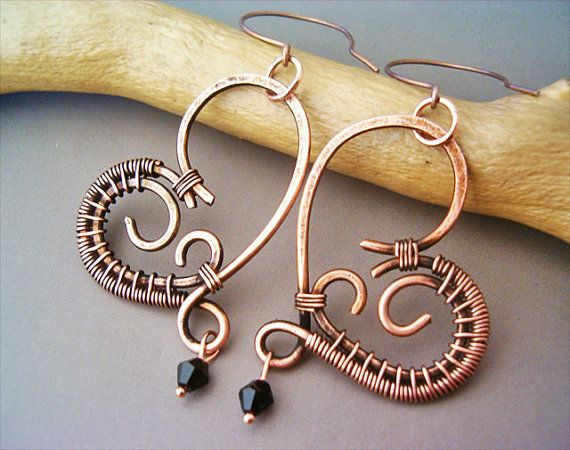 Wire Wrapped Heart Copper Earrings  wire wrapped by GearsFactory, €15.00