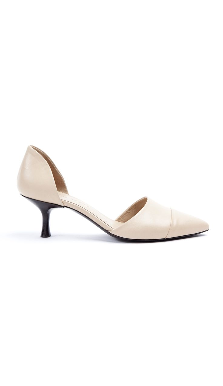 "Pointed toe leather d'orsay pump. Seam at the vamp. Heel 1 1/2"" (38.1mm). Made in Italy.CAN'T FIND YOUR SIZE OR COLOR"
