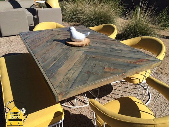 Dining Table Reclaimed Wood - Solid Wood Dining Table, Rustic Wood Dining Table, Distressed Dining Table,Herringbone Reclaimed  Dining Table