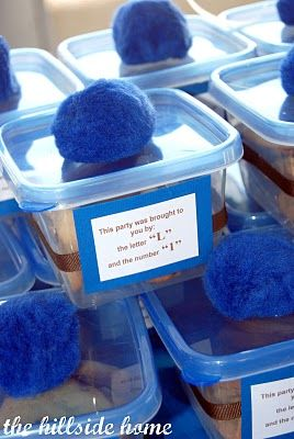 Cookie monster Birthday party favors -  homemade cookie jars!!!  so cute (and easy!)