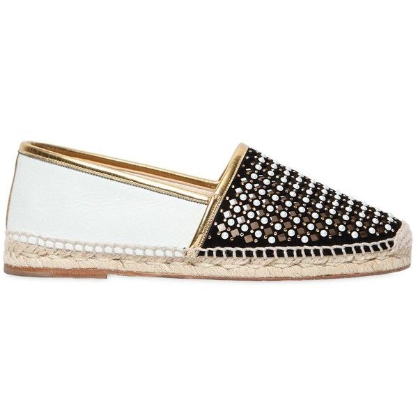 Renè Caovilla Women 20mm Imitation Pearl Suede Espadrilles (£550) ❤ liked on Polyvore featuring shoes, sandals, metallic sandals, rubber sole sandals, espadrilles shoes, metallic espadrilles and suede sandals