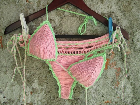 We call this bikini Ice cream bikini because of the combination of colors :)  It is made to order of high quality cotton yarn. 100% cotton but very good to make swim wear.  The size of cup is A (S in Europe size) and bottom is S/M size. You can choose the size what you need, just contact us.