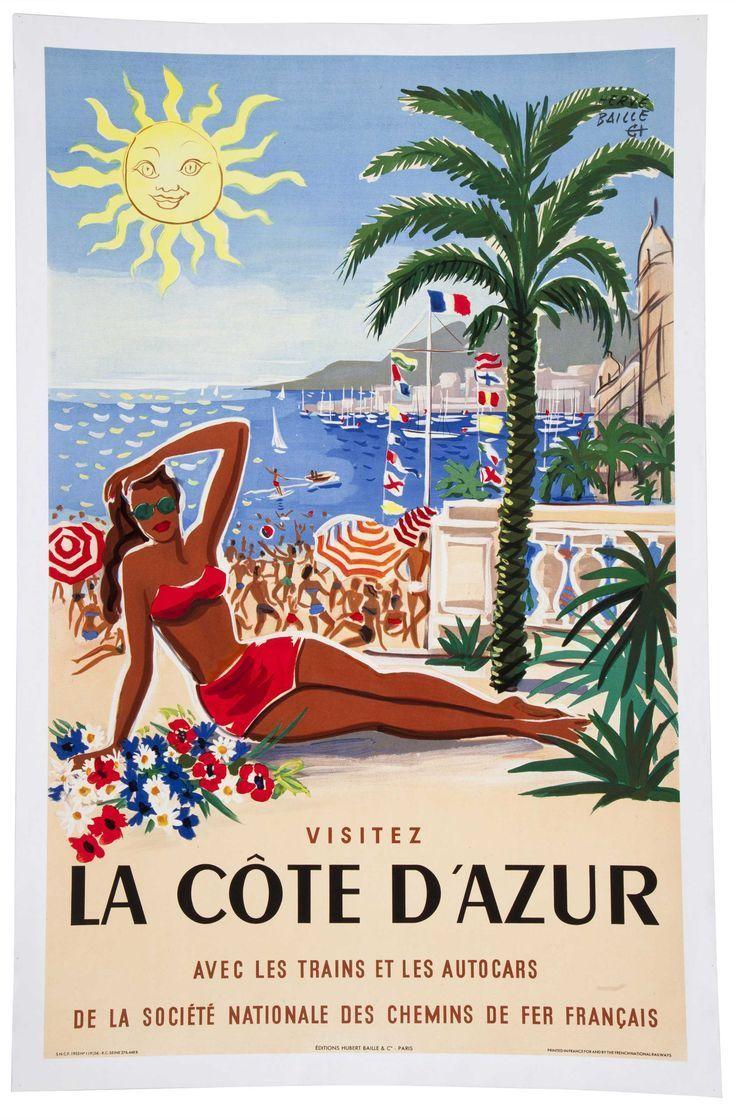 La Cote D Azur French Riviera Travel Posters Vintage Travel