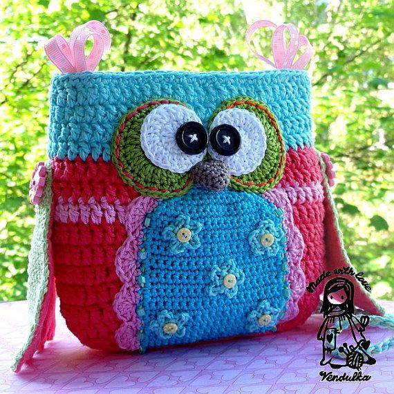 crochet owl purse
