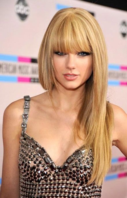 Taylor Swift Bang Hairstyle #blondehair