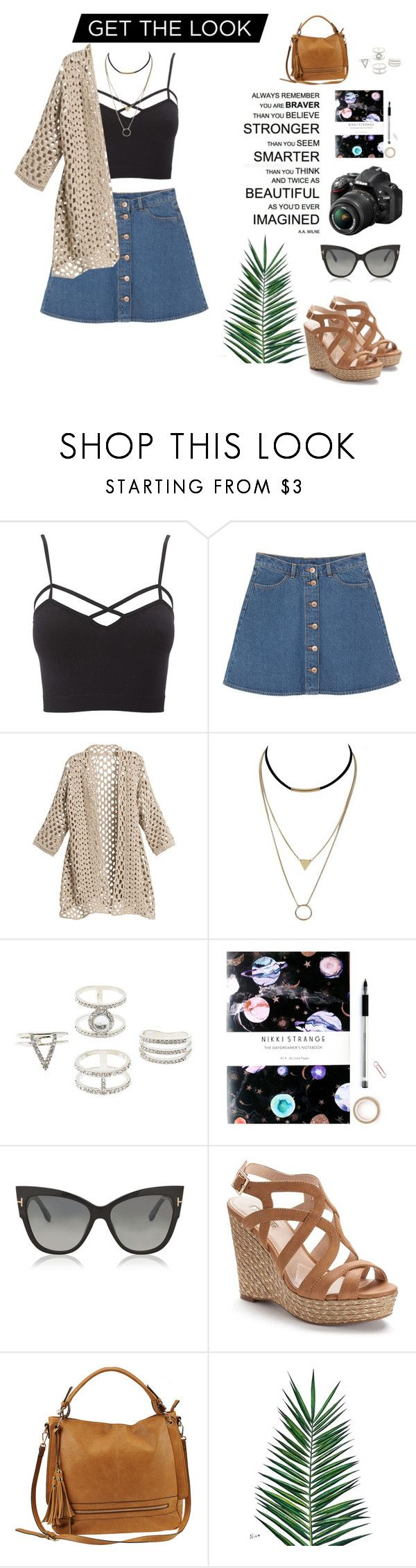 """Get the look!!!!"" by gina-sotirop ❤ liked on Polyvore featuring Charlotte Russe, Monki, Nikon, Nikki Strange, Tom Ford, Jennifer Lopez, Urban Expressions, Nika and plus size clothing"