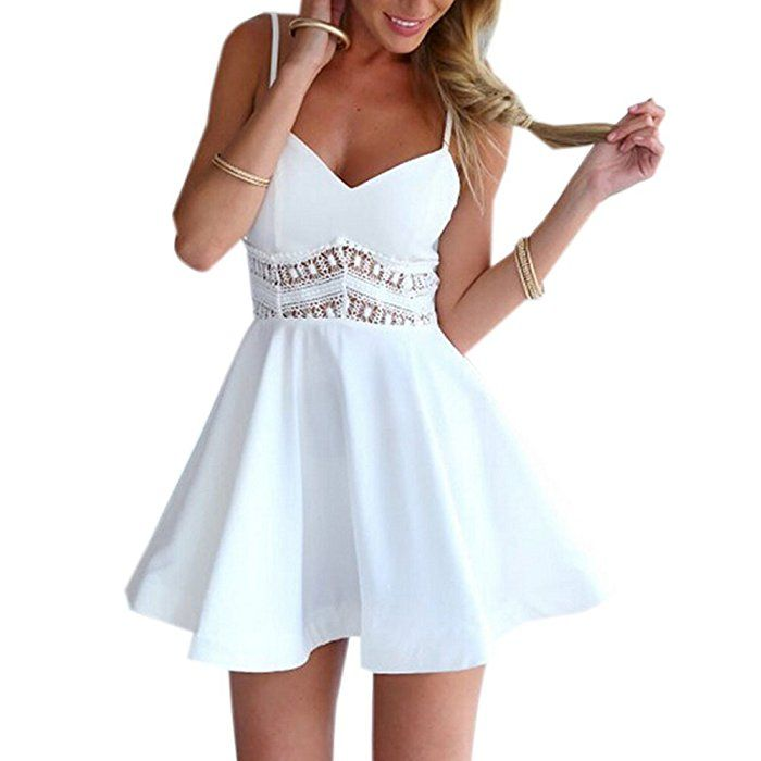 Damen Sexy Sommerkleid kurz Ärmellos V-Ausschnitt Spitze Spleiß strandkleider Rock Partykleid Cocktaikleid Aff link