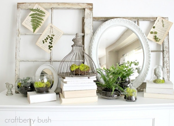 Everyone, I just got some amazing brand name purses,shoes,jewellery and a nice dress from here for CHEAP! If you buy, enter code:atPinterest to save http://www.superspringsales.com -   Spring mantel.  I love all of the plants in glass!
